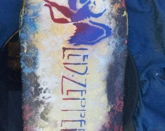 SPRAY PAINTED Led Zeppelin Broken Skateboard Art