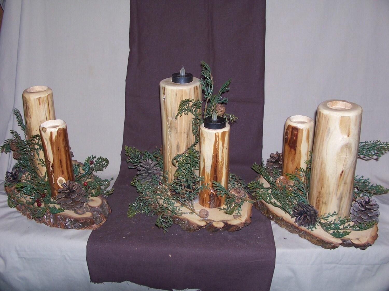 Rustic log tea light candler holder tea light holder rustic for Log candle holder how to make