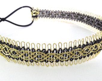 SALE // Black and Gold Decorative Delicate Headband