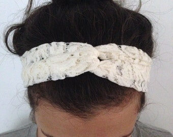 Cream Lace Turban Style Headband