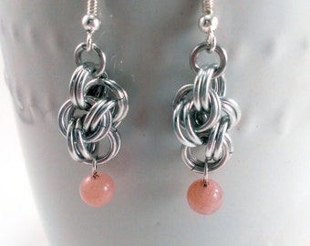 Double Cloud Cover Chainmaille Earrings with Sunstone