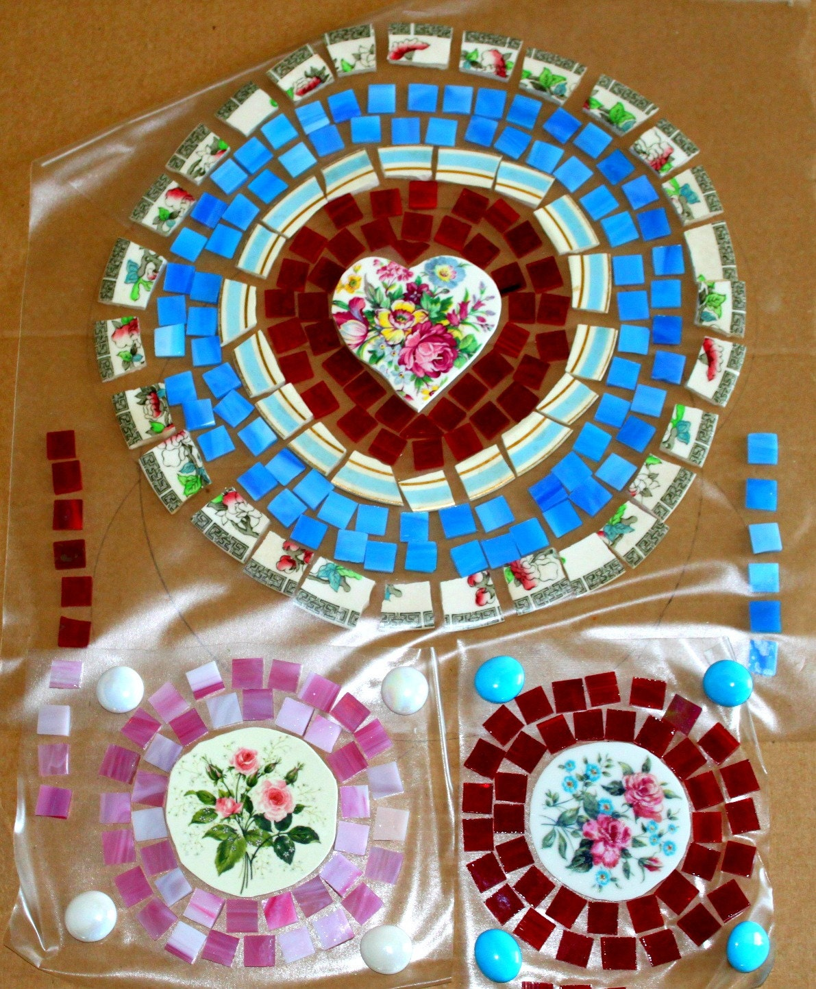 Mosaic Tile Focals Broken Plates Table Top Set Romantic