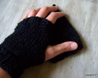Jackie -Womens fingerless gloves Hand warmers wrist warmers arm warmers Hand knit gloves, black gloves, fingerless mittens Gift idea for her
