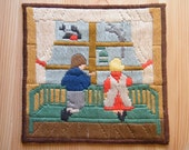 Vintage Swedish Wall Hanging - Needlepoint Work - Childrend by the Window - Nursery Decoration - Christmas Decor - Home Design.