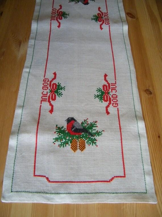 christmas Vintage Christmas swedish table JUL   Runner  Table  topping GOD Small  Table Swedish runner