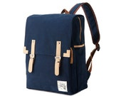 Simple cotton Square Backpack (Navy)