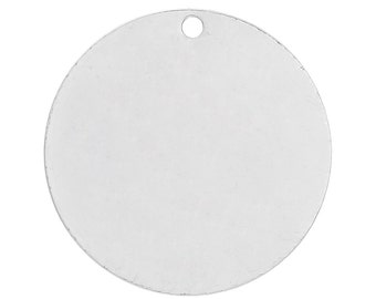 10pc Silver Plated Round Copper Stamping Blank Tags - 20mm - Ships from USA, Jewelry Finding, Jewelry Making Supplies, Necklace Finding- C46
