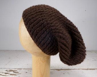 100% Baby Alpaca Ribbed Crocheted Slouchy Hat - Dark Brown