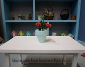 Price REDUCED! Miniature dollhouse pot of pink roses flowers in mint green with faux potting soil