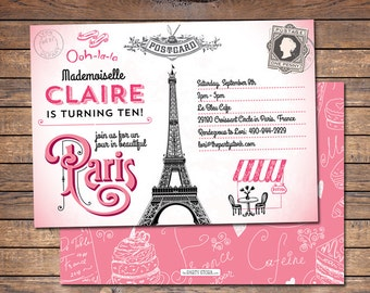 Paris Themed Party Invitation | Printable | Girls Pink Paris Birthday Party Invite with Eiffel Tower | Decorations and Party Pack Available