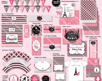 Paris Birthday Party Decorations | Printable Girl Party Package | Pink | Invitation Available | Express Party Pack- Instant Download