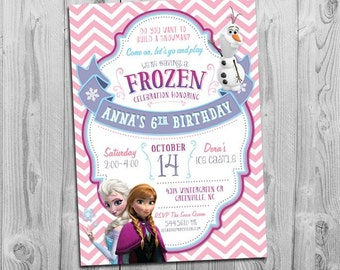 Invitation printable frozen party invite with elsa anna and olaf