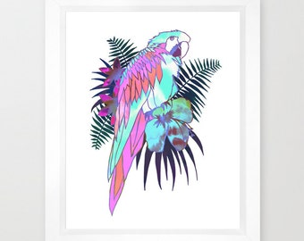 TROPICAL PARROT Ekahi (Style B) Art Print  by SchatziBrown