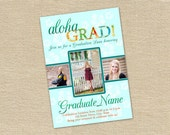 PSD Photoshop file - Aloha Grad! Luau Graduation announcement or invitation template