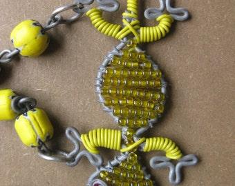 Necklace - Lizard - African Beads and African Beadwork Centerpiece