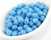 Light Blue Czech Glass Beads 6mm Faceted (35) Fire Polished Polish Round Opaque last