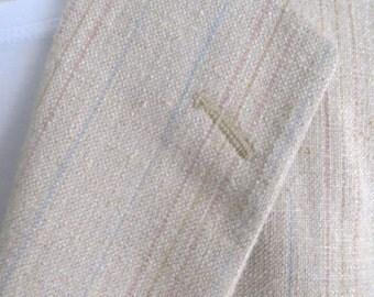 Vintage mens 70s suit jacket, blazer, sports jacket, sport coat, summer spring, beige blue stripe