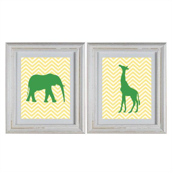 Chevron Jungle Animals Nursery Wall Art DIY Printable Set