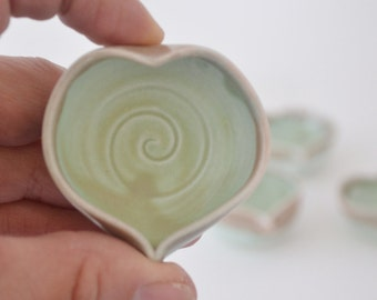 """IN STOCK, Stocking Stuffer, Turquoise Miniature Heart Vase, Small Pottery, Ring Holder,  1 1/2"""" by 3/4"""","""