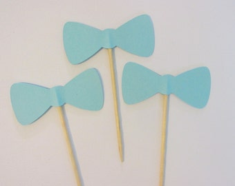 12 Baby blue bow tie cupcake toppers-bow appetizer picks