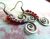 Red Drops, Wire Wrapped Brass Earrings