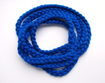 Knitted roap scarf necklace of cobalt blue braids
