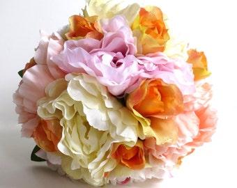 Silk Bridal Bouquet - Faux Bouquet - Artificial Bouquet - Orange, Pink and Peach Bouquet - Matching Boutonniere Included