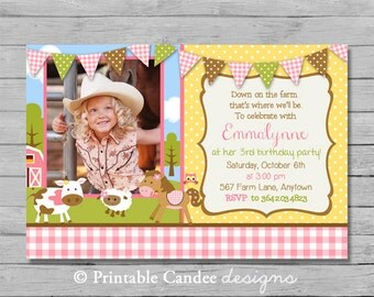 Girl Farm Birthday Invitation - DIY Custom Printable