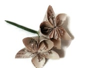 Vintage Book Paper Boutonniere with Two Flowers and Wrapped Wire Stem