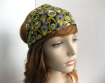 Black and Yellow Paisley Floral Bandana Dreadband Womens Headband Paisley Headband Boho Head Wrap Hair Accessory Womens Gift for Her