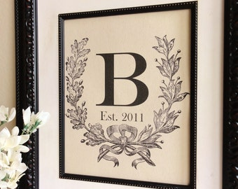 Cotton Anniversary Gift- Custom Monogram with Crest, Initial and Est. Date for Engagements, Weddings, Birth Announcement, etc.