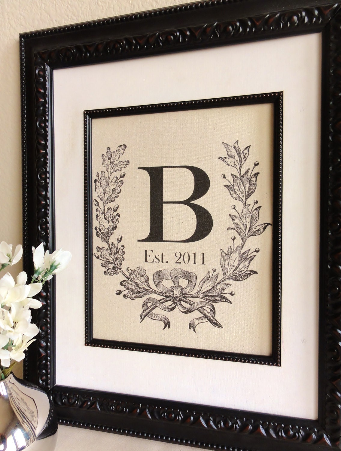 cotton anniversary gift custom monogram with crest initial
