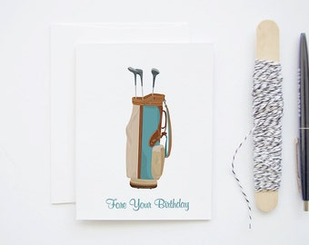 Happy Birthday Golf Card - 'Fore Your Birthday' - Blank Greeting Card