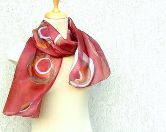 Circles silk scarf - Boho scarf Hand painted