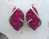 Magenta Druzy Silver Wrapped Earrings