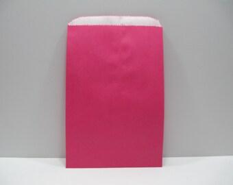 Pink Paper Bags, SALE - 100 Hot Pink 6x9 Paper Gift Bags, Merchandise Bags, Favor Bags, Weddings, Showers, Birthdays, Treats