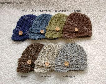 Newborn boy hat baby boy newsboy hat infant boy photography prop baby brim hat crocht knit- you choose color