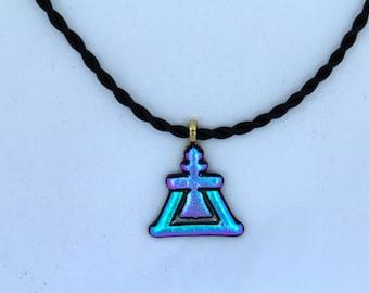 Purple & Blue Dichroic Fused Glass Raincross on Black Satin Cord