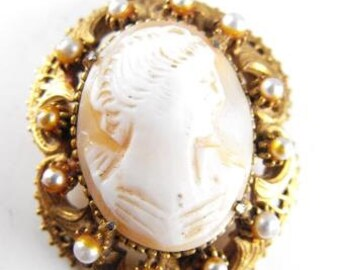Florenza Cameo Brooch Pendant Carved Shell Antiqued Gold Metals Seed Bead Pearls