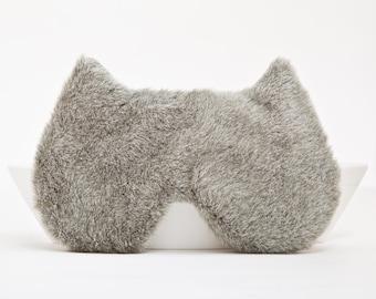 Fluffy sleeping mask Cat  Mask gift for her Gray Bridesmaid Gift Kids Eye mask Bachelorette Party Favors Womens Sleep Masks