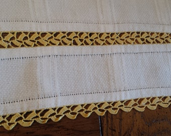 Vintage White Table Runner with Gold Trim