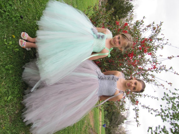 Items similar to Girls Grey and Mint Tulle flower girl ...