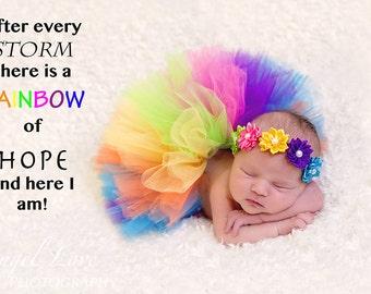 Rainbow tulle tutu, matching headband, newborn photo prop, newborn tutu ,baby gift, newborn picture outfit