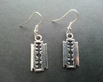 Silver Razor Blade Earrings