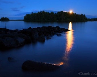 Dramatic moon rise in Finland over a lake, surreal photo, print you can frame for your wall, full moon rising over lake