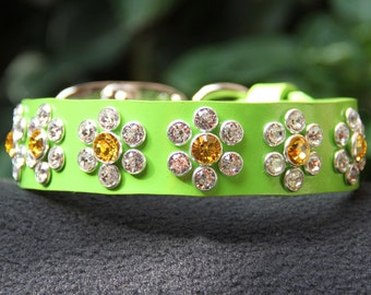 Spring Green Leather Dog Collar with Swarovski Crystals