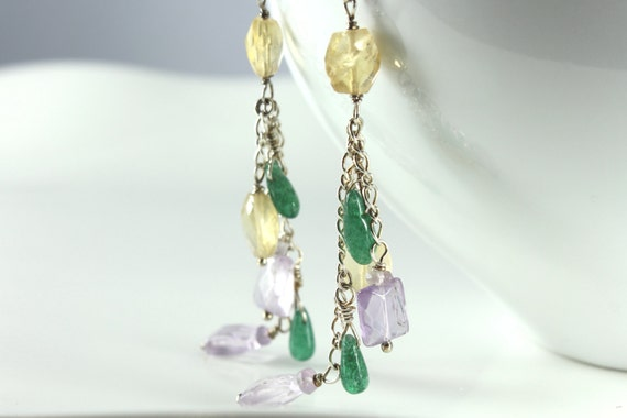 Multi stone cluster earrings, Sterling Silver, Citrine, Amethyst, Green Aventurine, fine statement earrings, gift, purple, yellow, green