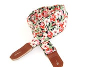 Ukulele Strap in Garden Bouquet - White & Red Blooms