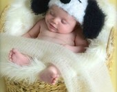 Soft and fuzzy  Snoopy Dog Crochet hat  Puppy  Hat, photography prop,adult  size, crochet hat