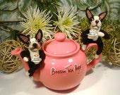 Boston Terrier, Boston Tea Party, Needle Felted Boston Terrier Art, Handmade Boston Terrier